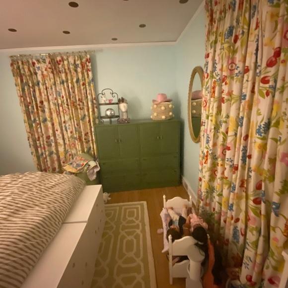 Vintage floral pleated curtain panels (4) OAK